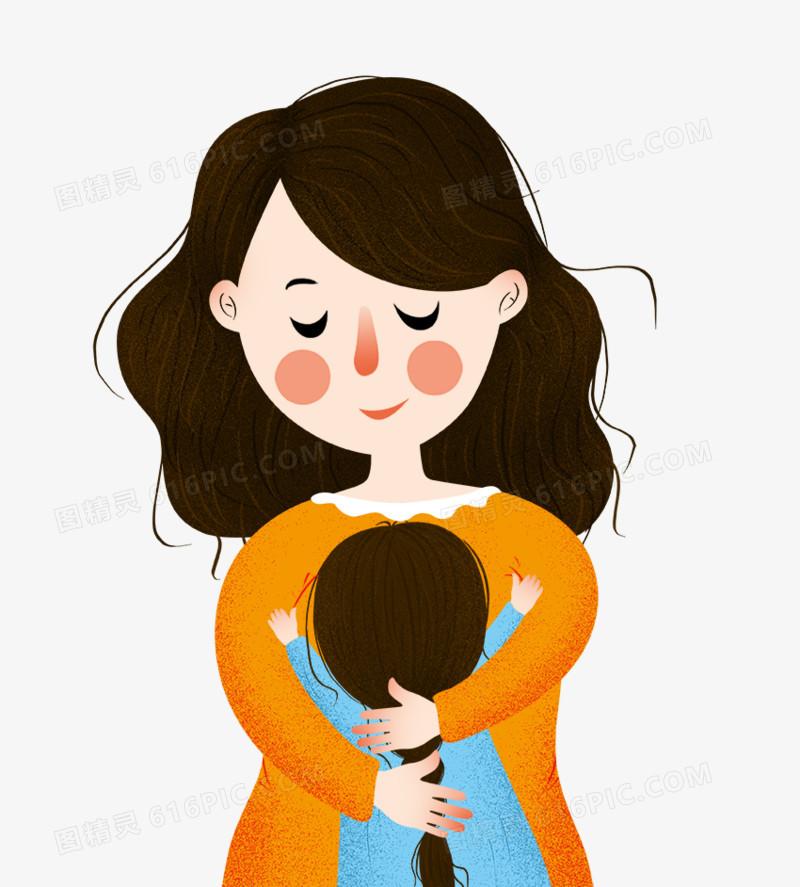 手绘装饰插图母亲节拥抱妈妈的孩