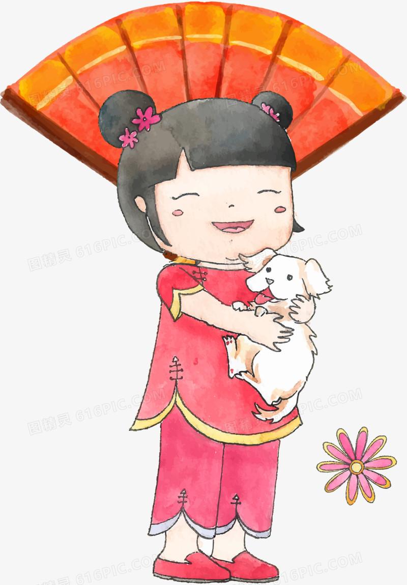 图精灵 免抠元素 卡通手绘 > 卡通手绘中国风年画娃娃   图精灵为您