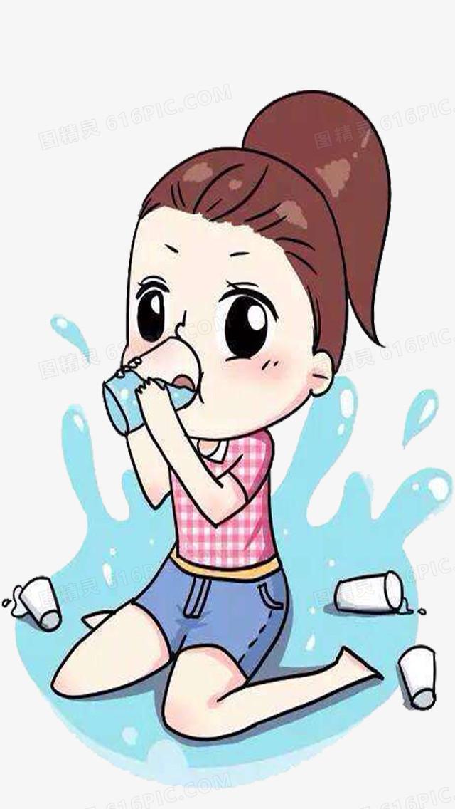 小女孩喝水图片