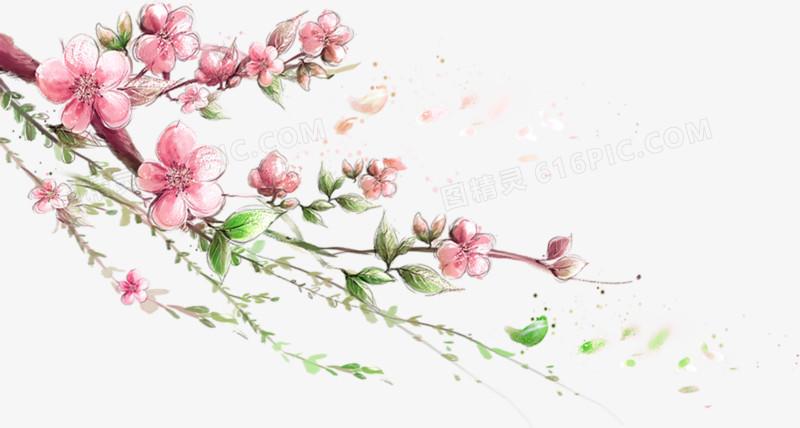 手绘水彩桃花枝图片免费下载_高清png素材_图精灵