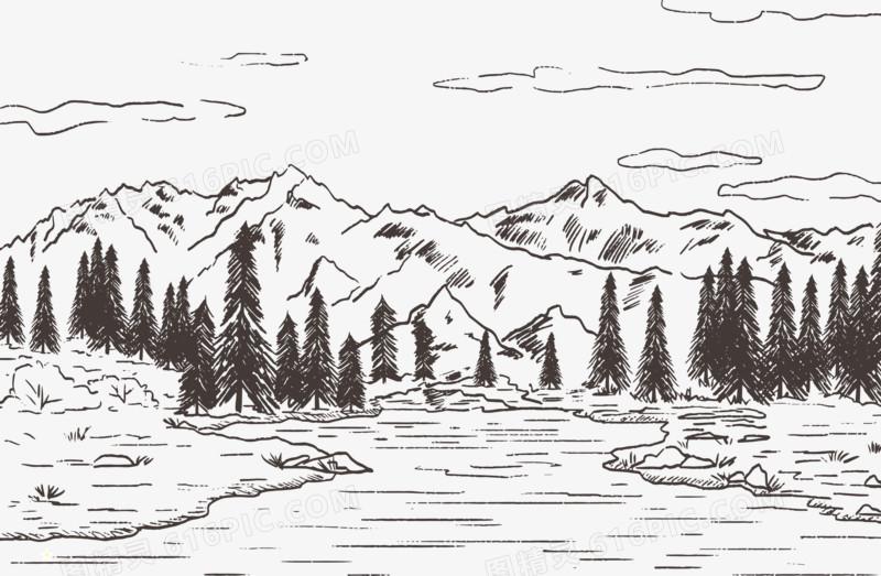 一年级森林素描图片