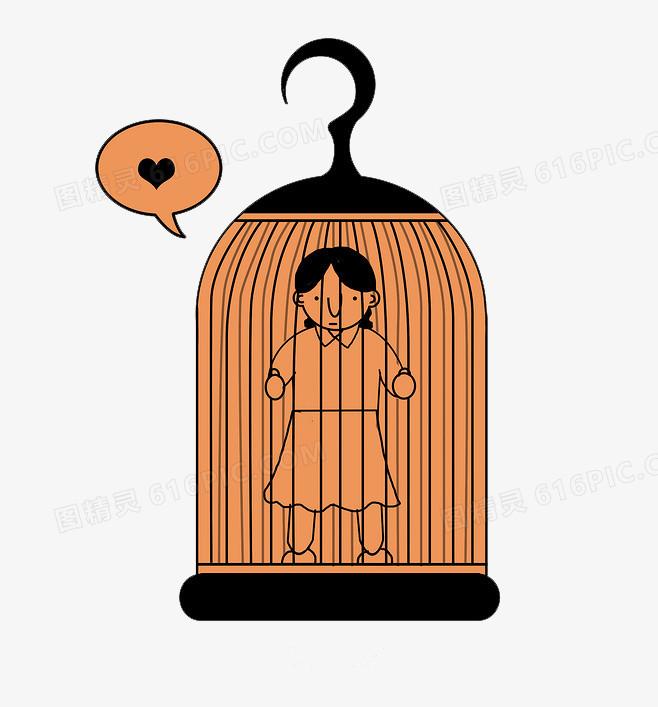 困在笼子里的女人卡通素材