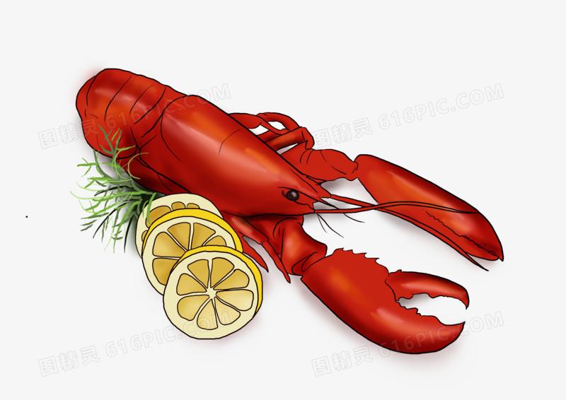 手绘小龙虾和柠檬图片免费下载_高清png素材_图精灵