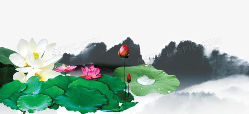 创意中国风莲花池素材