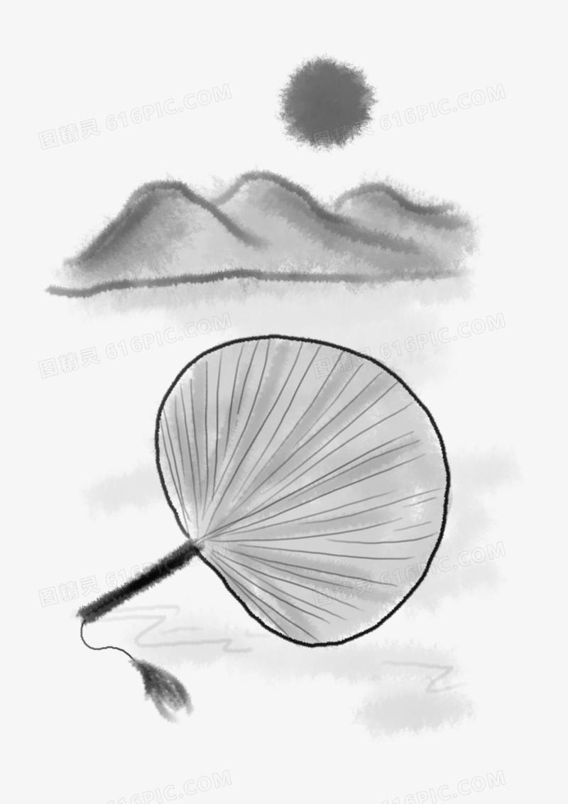夏至手绘古风扇子