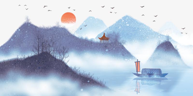 图精灵 免抠元素 卡通手绘 > 中国风水墨山水风景插画   图精灵为您